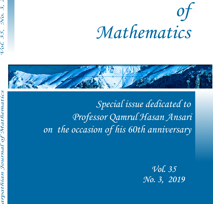 Vol 35/2019 no. 3 Special issue dedicated to Professor Qamrul Hasan Ansari – Published on 30.09.2019